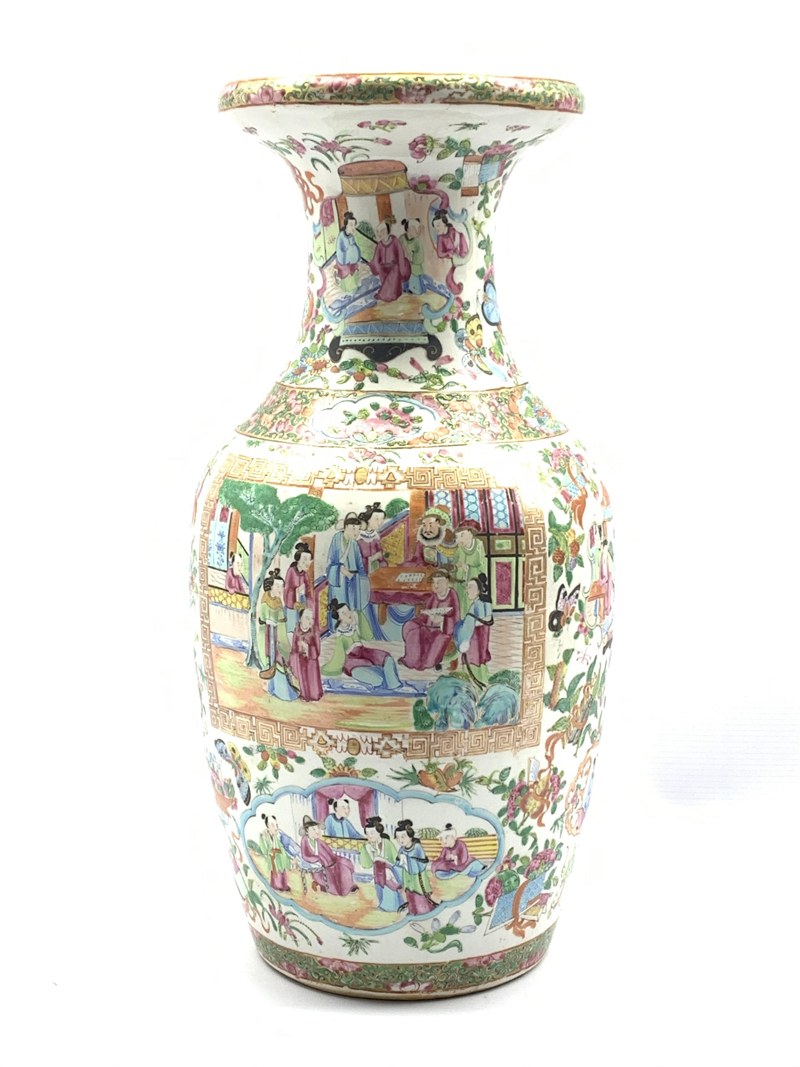 19th century Chinese Canton Famille Rose vase of baluster form, enamelled with rectangular panels