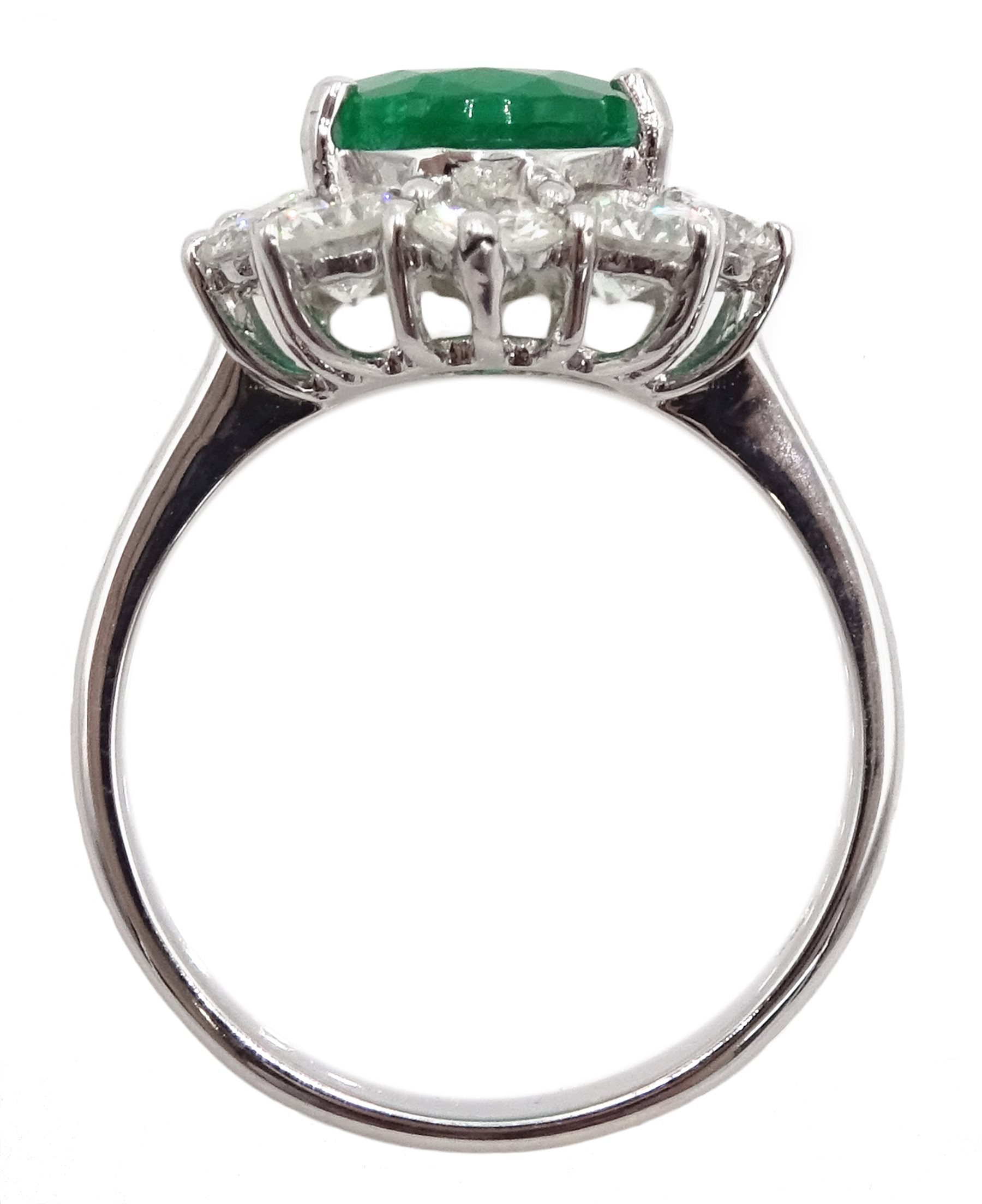 White gold oval emerald and round brilliant cut diamond ring, stamped 750, emerald approx 2.80 - Image 5 of 5