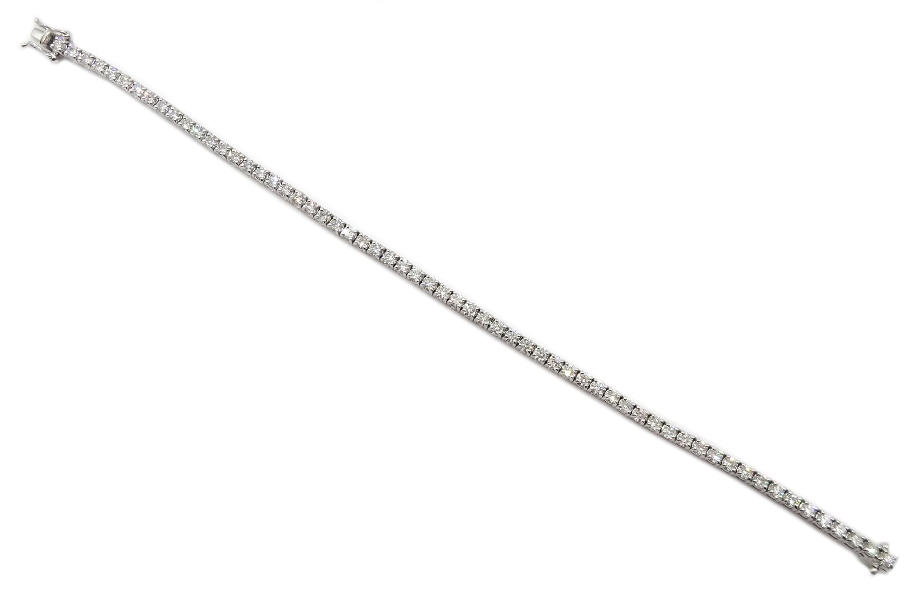 18ct white gold diamond line bracelet, stamped 750 diamond total weight approx 5.18 carat, free UK - Image 3 of 5