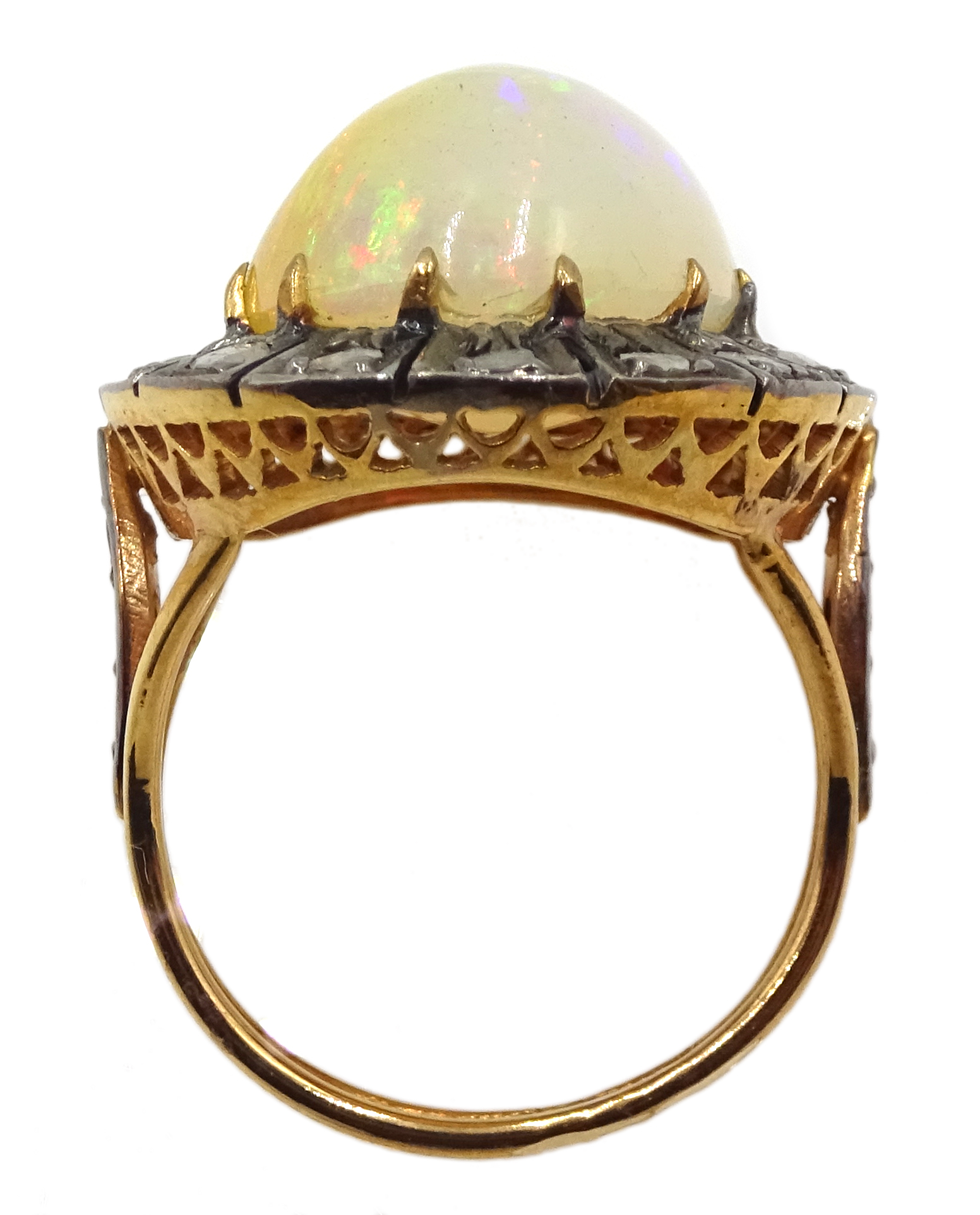 14ct gold and silver cabochon Ethiopian opal and rose cit diamond ring, stamped 585 and 925 - Image 6 of 7
