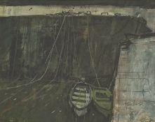 George Devlin (Scottish 1937-2014): Boats at Port-Vendres, pastel signed, 53cm x 71cm, UK mainland