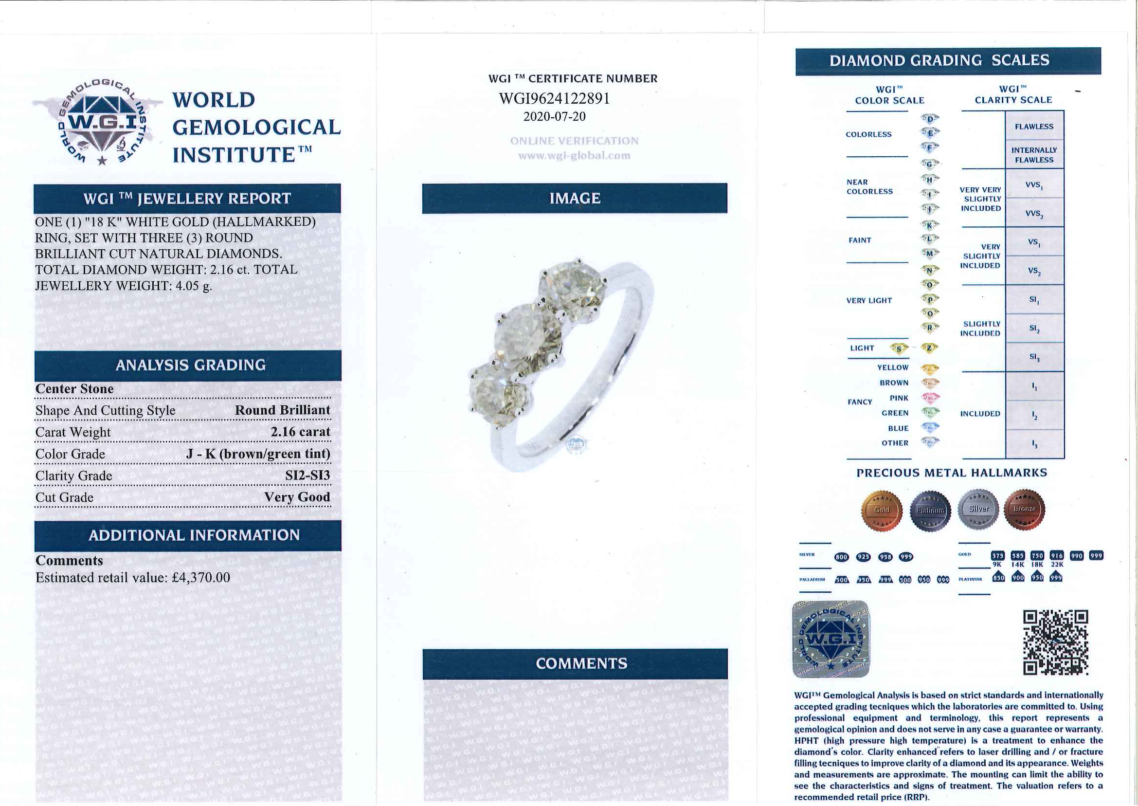 18ct white gold three stone round brilliant cut diamond ring, total diamond weight 2.16 carat, - Image 7 of 7