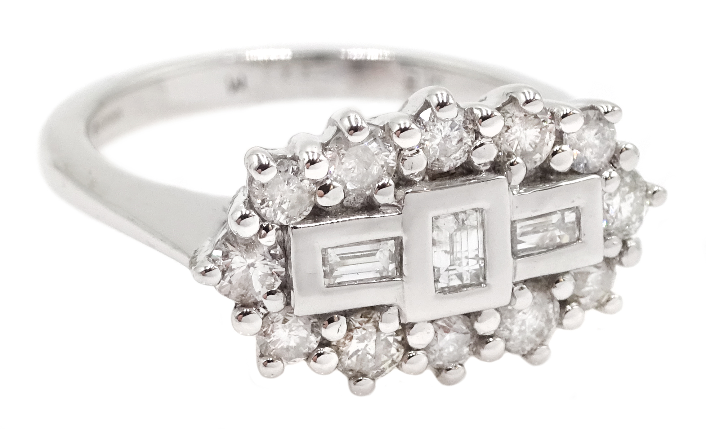 18ct white gold and diamond cluster ring, diamond total weight 0.75 carat, free UK mainland shipping - Image 3 of 6