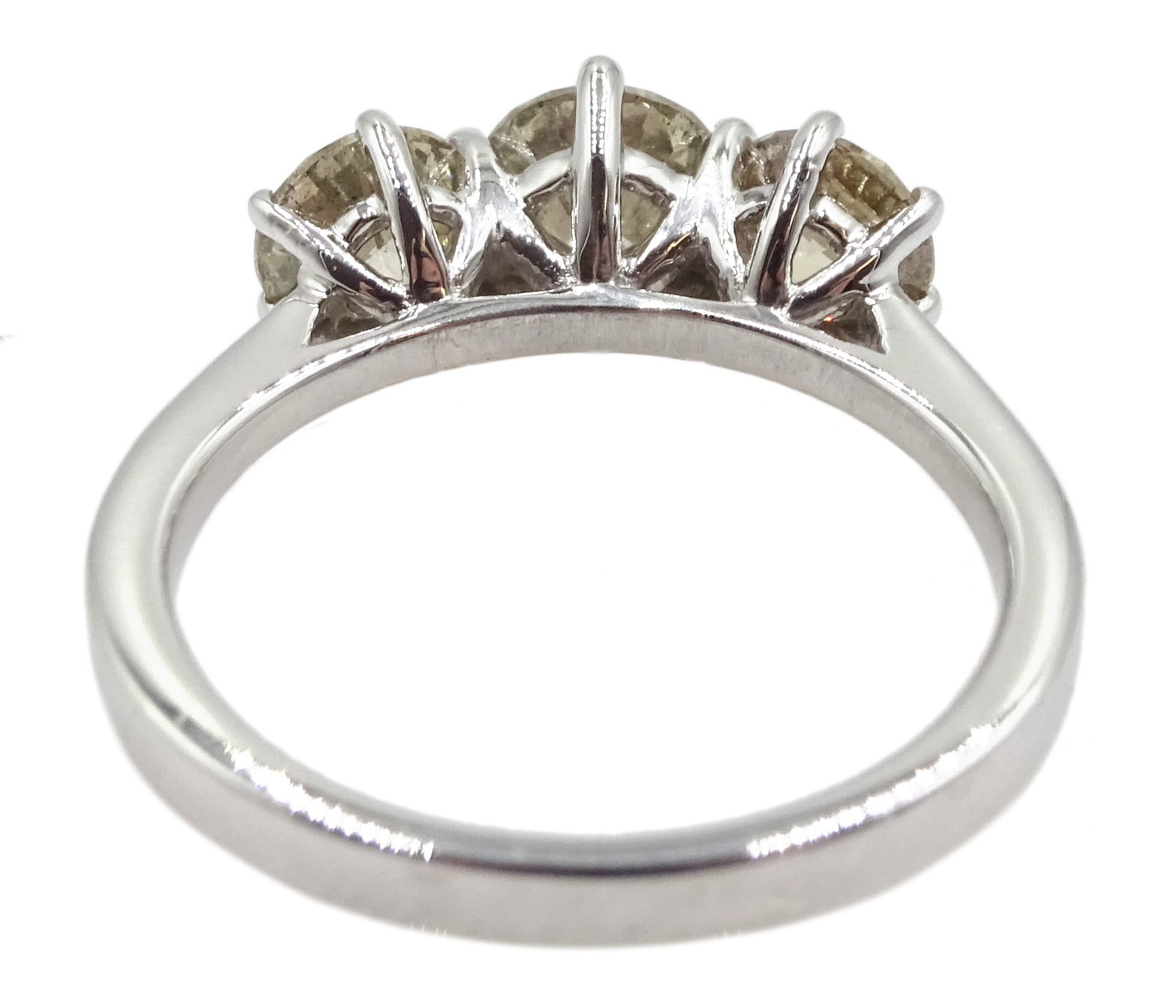 18ct white gold three stone round brilliant cut diamond ring, total diamond weight 2.16 carat, - Image 5 of 7