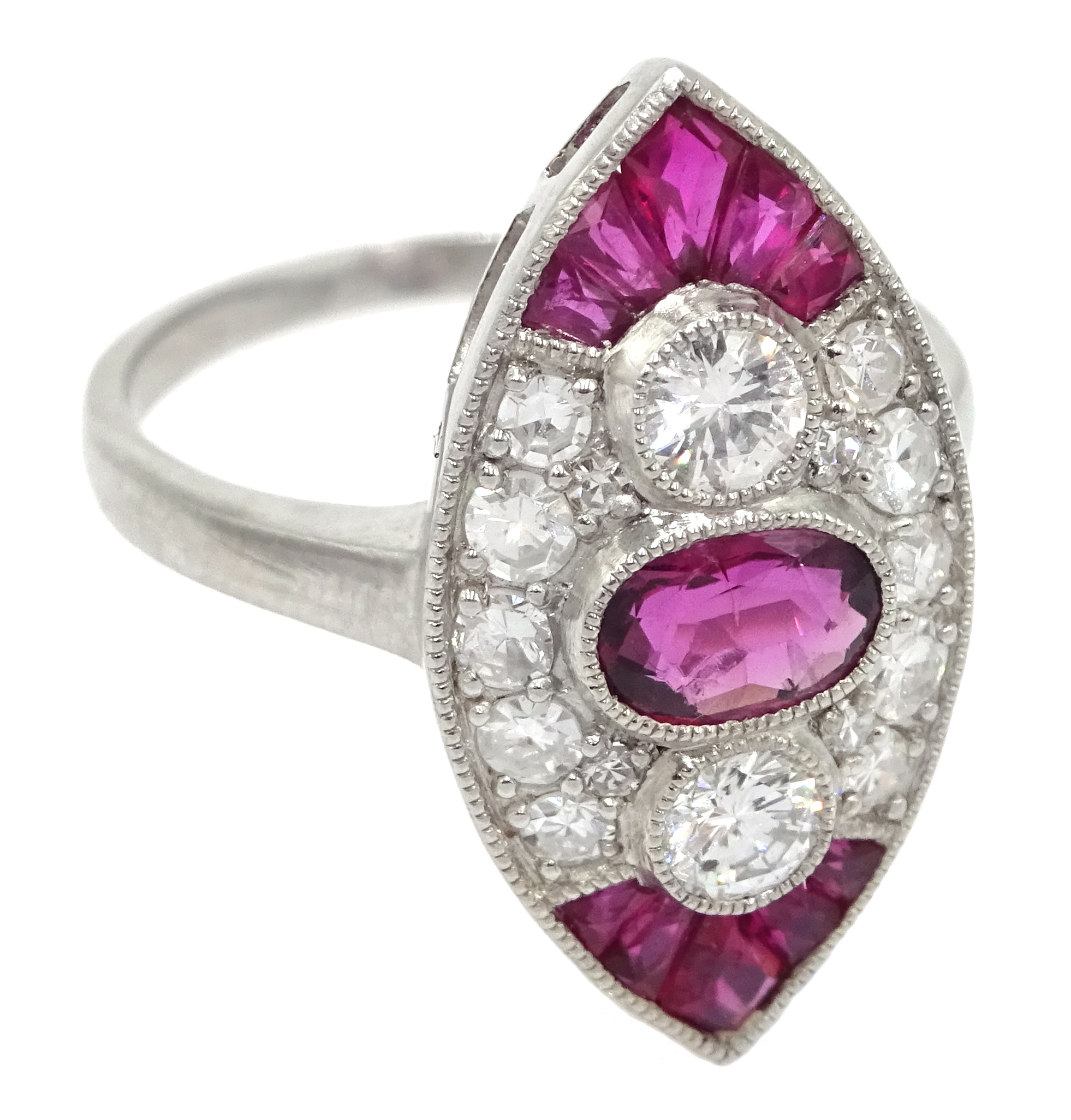 Victorian style marquise shaped platinum ring set with rubies and diamonds, free UK mainland - Image 3 of 6