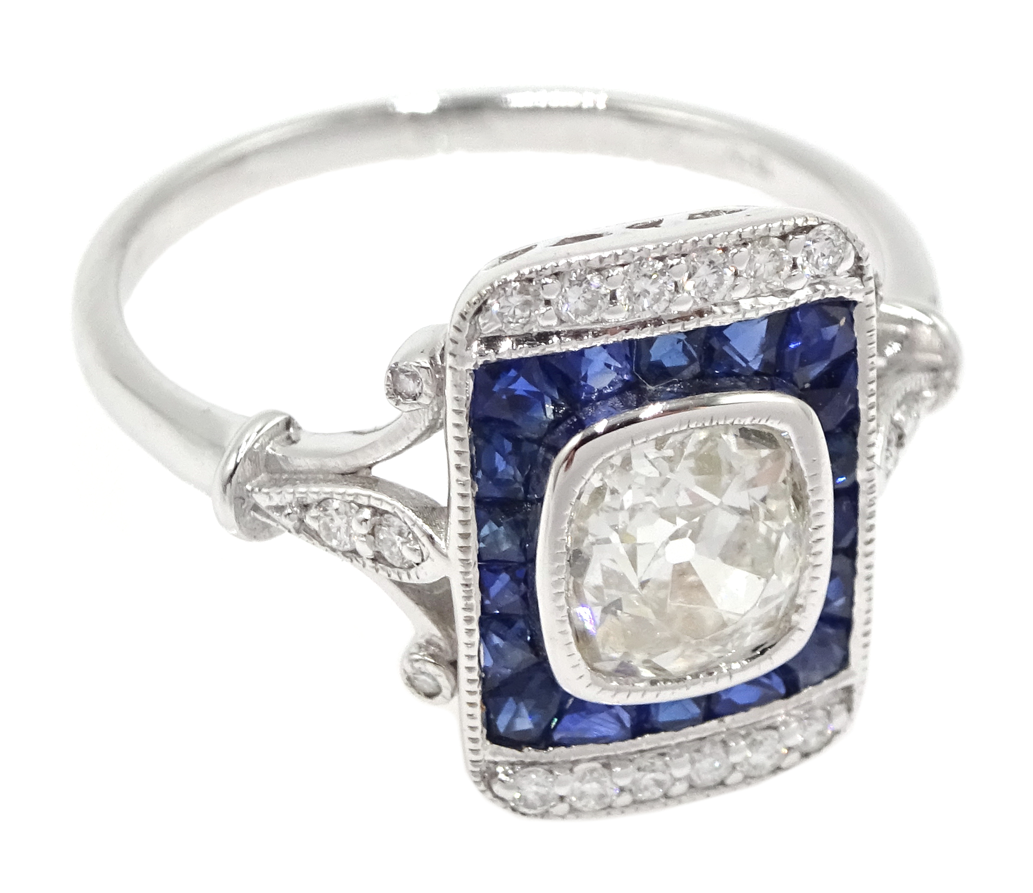 Art Deco style 18ct white gold, sapphire and diamond ring, central old cut diamond surrounded by - Image 3 of 6