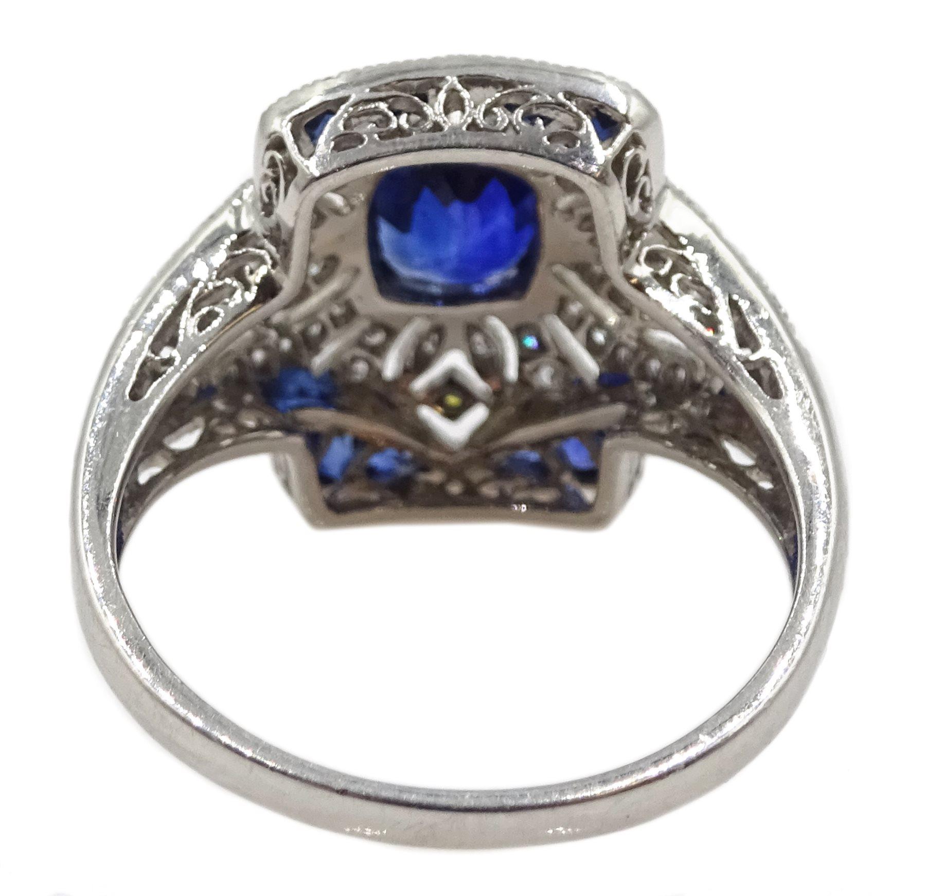 Platinum sapphire and diamond dress ring, pierced openwork setting, free UK mainland shipping - Image 5 of 6