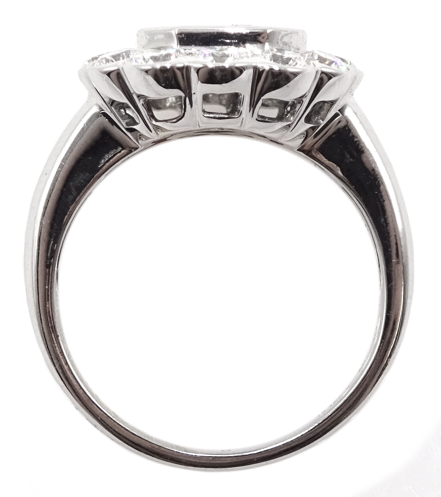18ct white gold, sapphire and diamond cluster ring, sapphire total weight 2.10 carat, diamond - Image 4 of 5