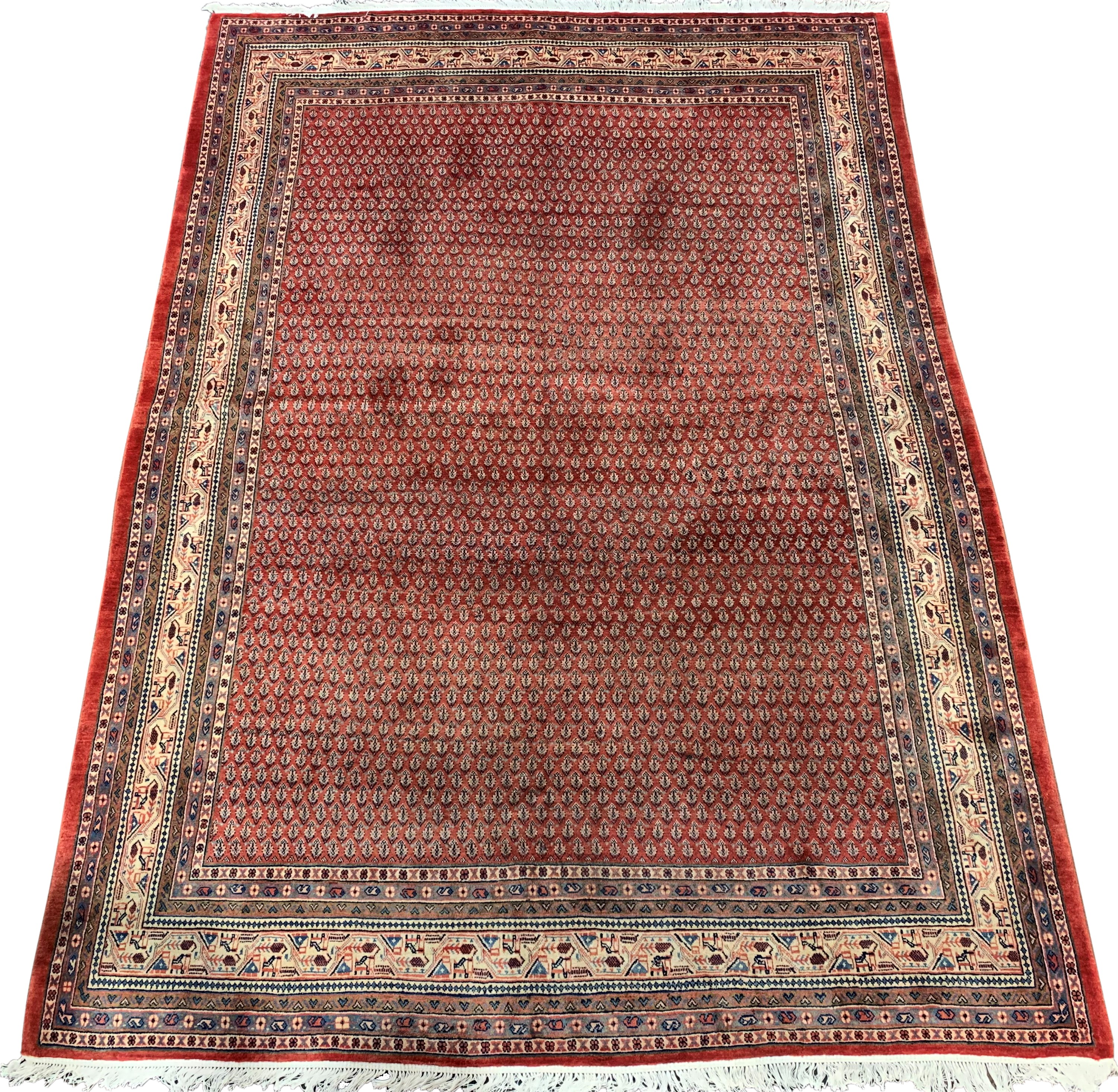 Large Persian Araak carpet, red ground field decorated all over with Boteh motifs, multiple band