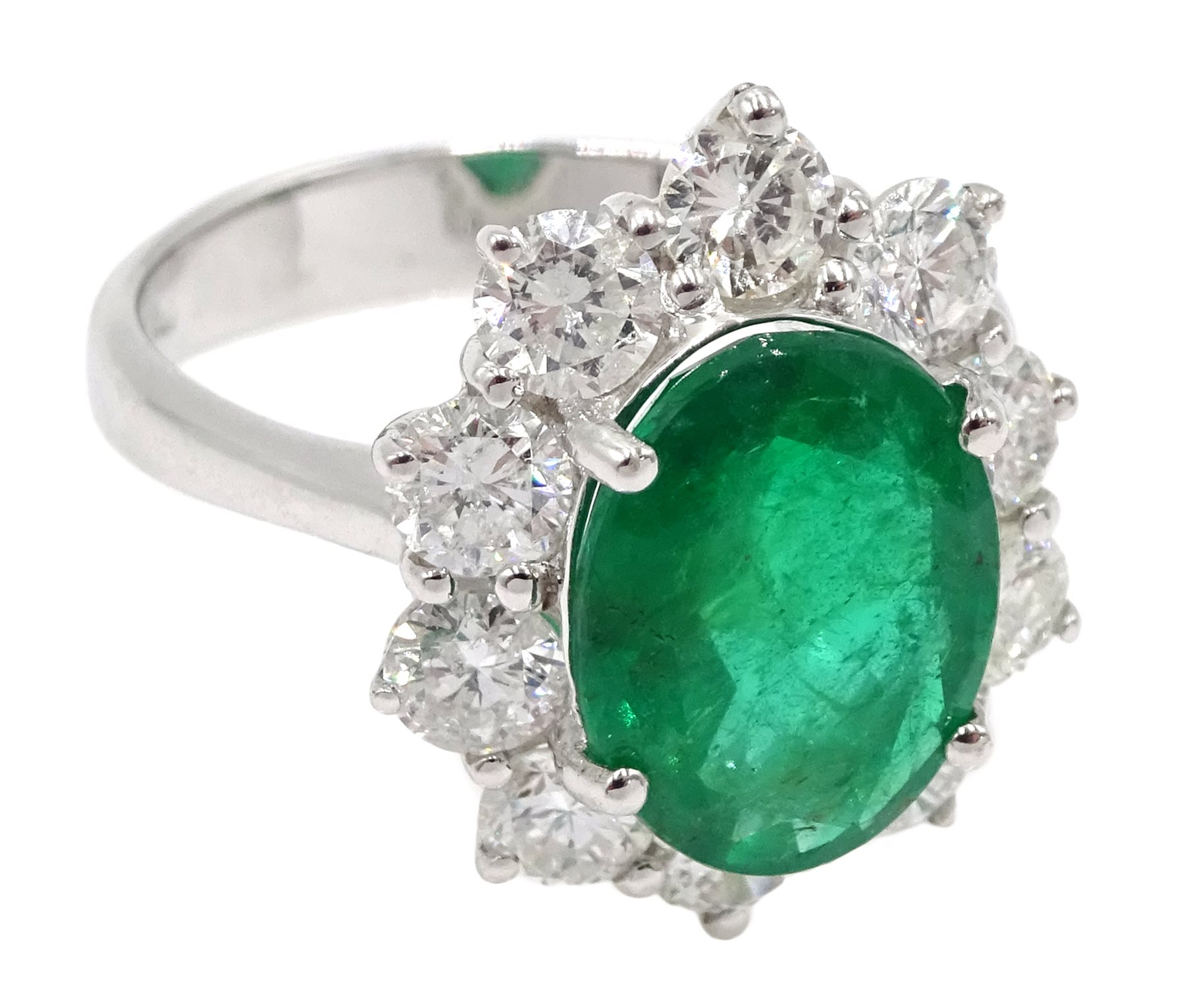 White gold oval emerald and round brilliant cut diamond ring, stamped 750, emerald approx 2.80 - Image 3 of 5
