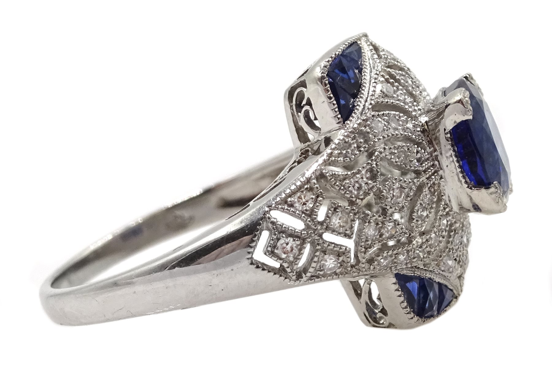 Platinum sapphire and diamond dress ring, pierced openwork setting, free UK mainland shipping - Image 4 of 6