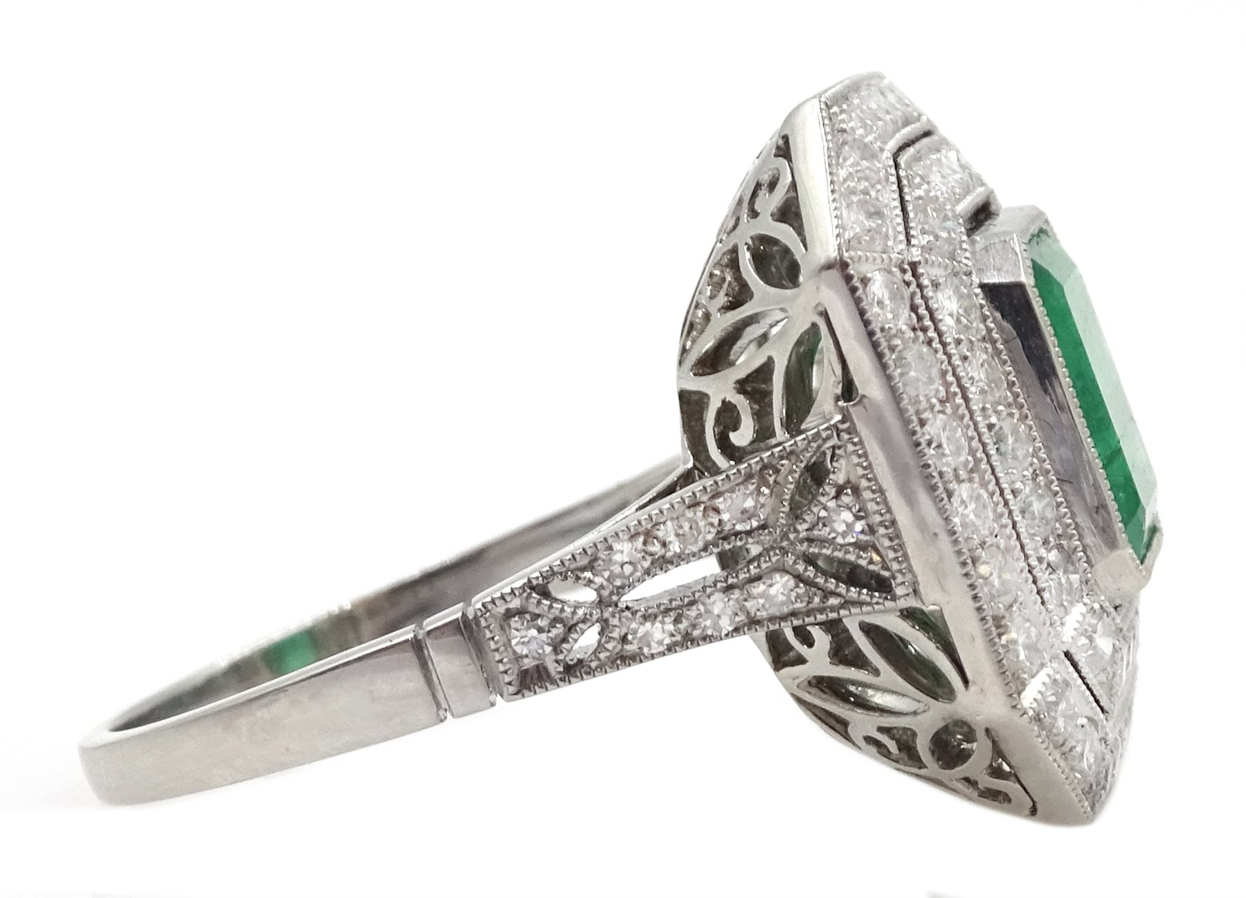 Platinum emerald and double row diamond ring, with diamond set shoulders, emerald approx 1.85 carat, - Image 4 of 5