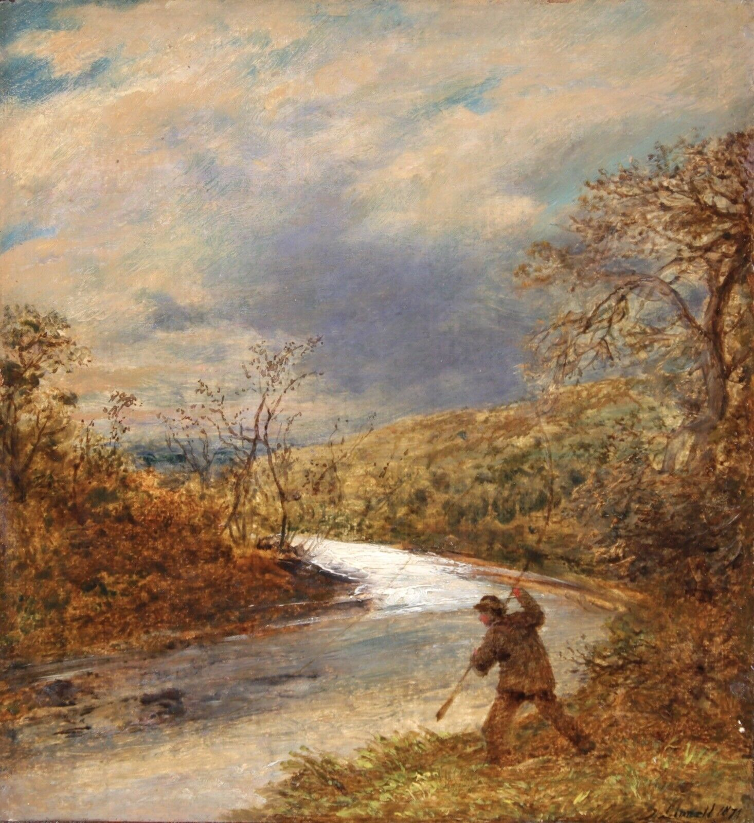 John Linnell (British 1792-1882): The Angler, oil on board signed and dated 1872, 34cm x 31cm