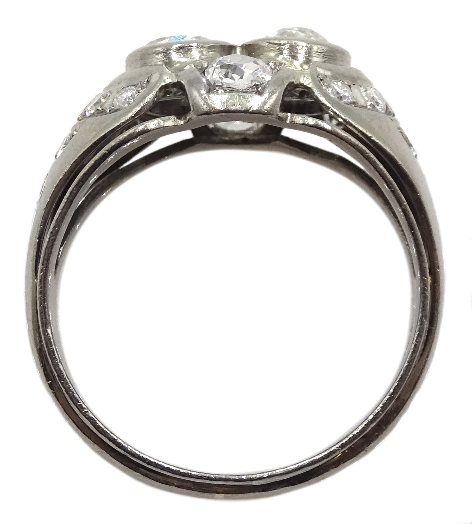Continental 14ct white gold old cut and round brilliant cut diamond ring, stamped 585, total diamond - Image 5 of 5