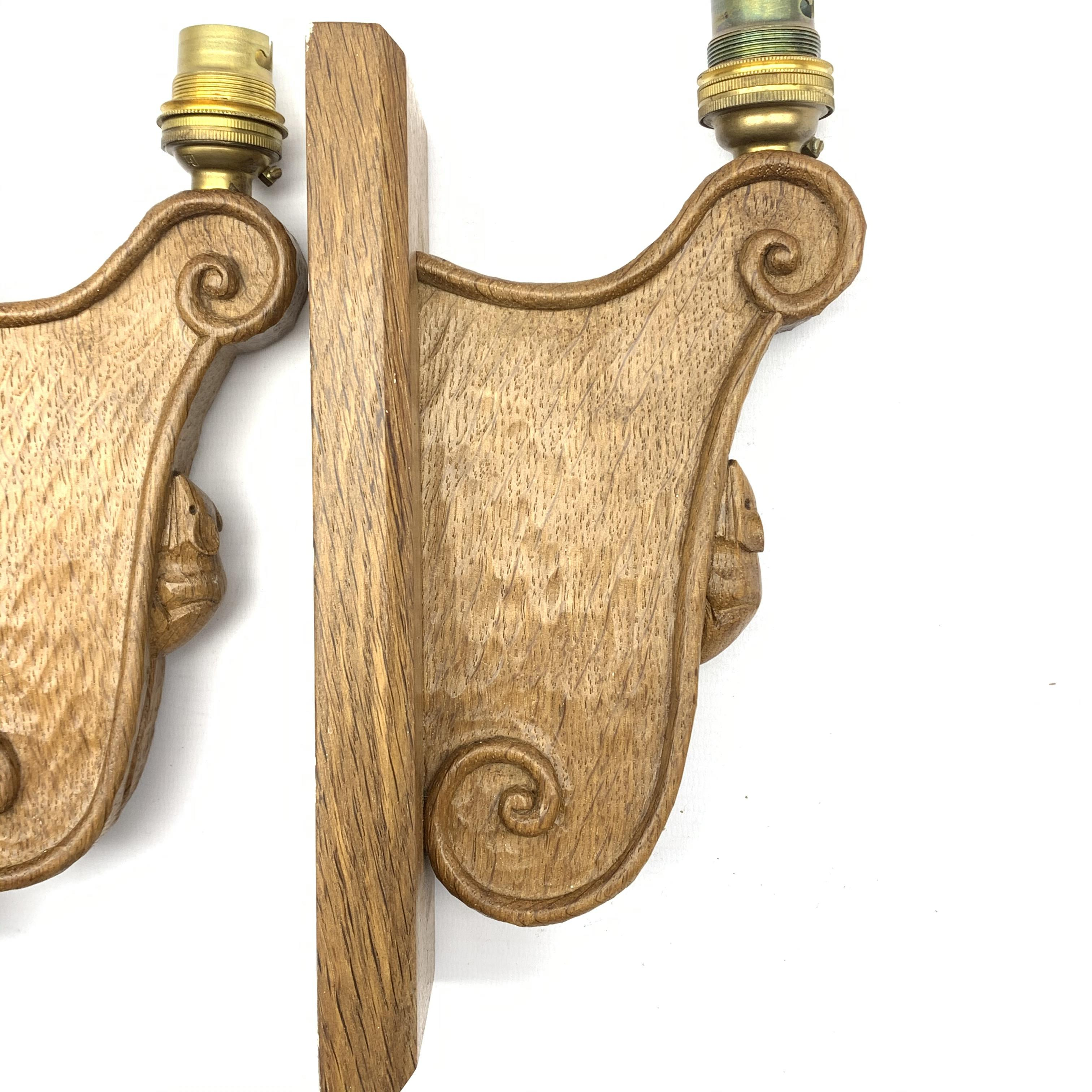 Mouseman' pair carved oak wall sconces with mouse signature, scrolled decoration on chamfered - Image 4 of 5