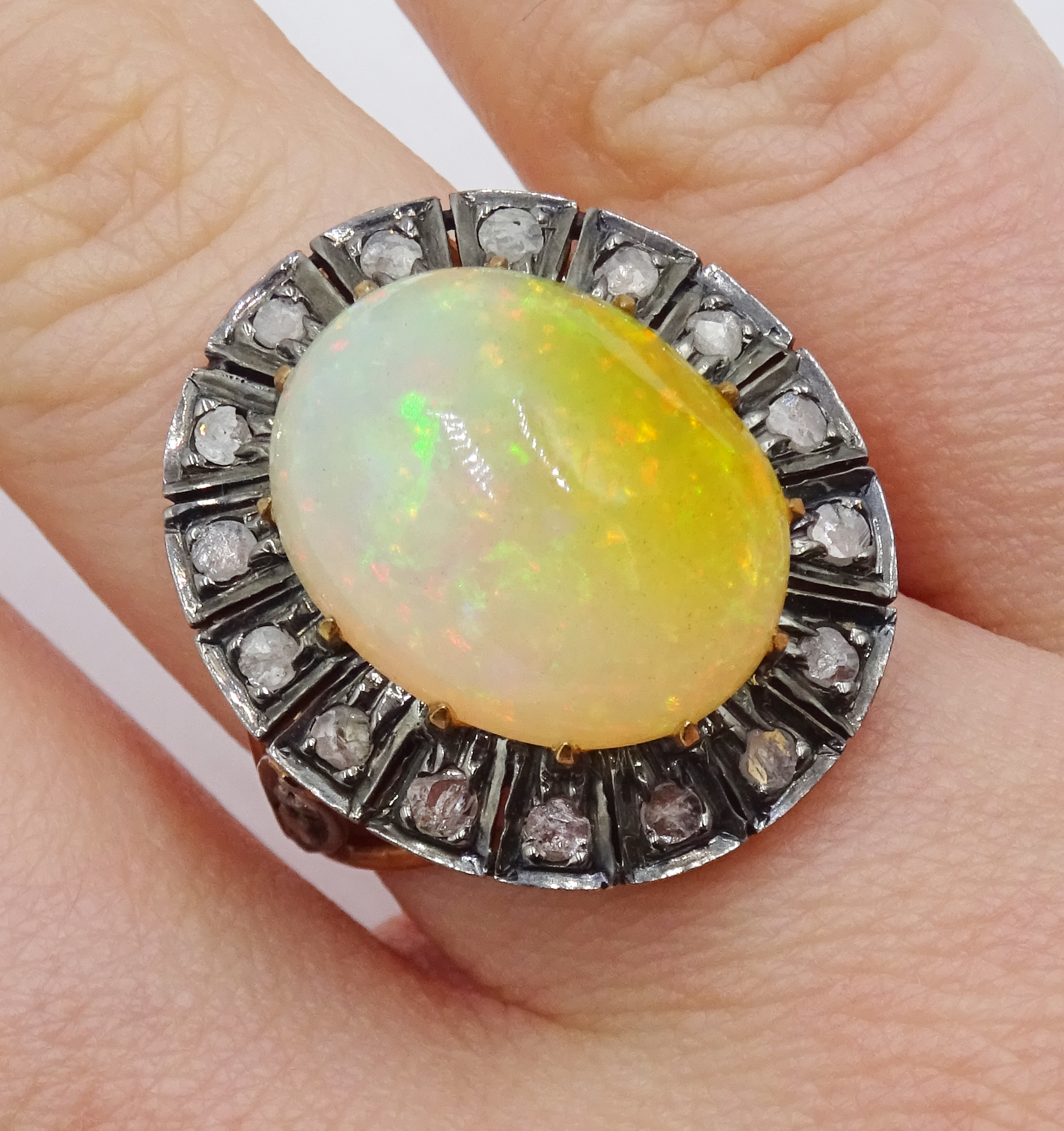 14ct gold and silver cabochon Ethiopian opal and rose cit diamond ring, stamped 585 and 925 - Image 2 of 7