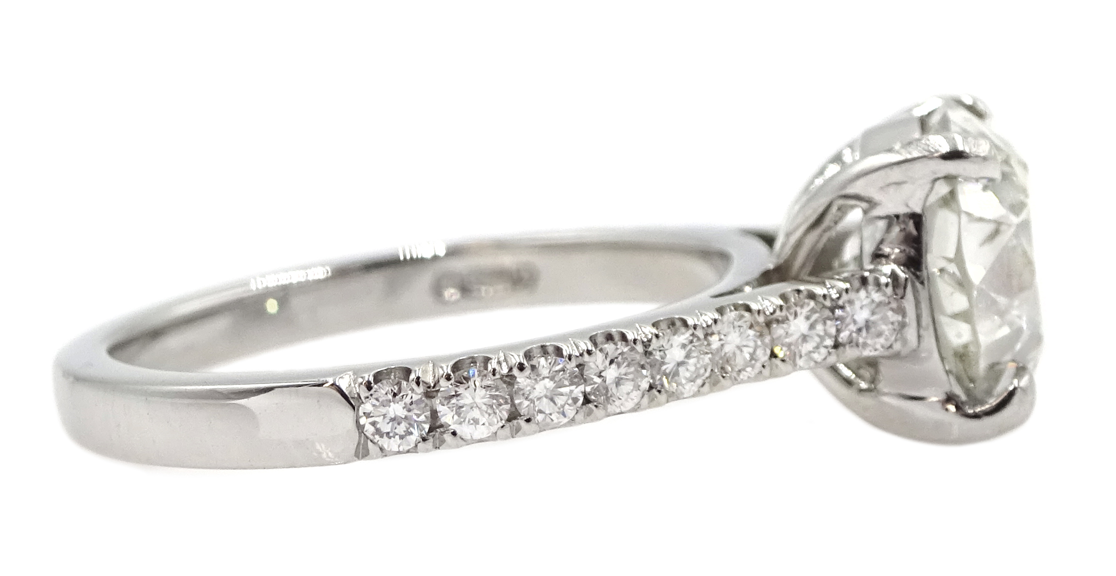 Platinum old cut diamond solitaire ring with diamond set shoulders, hallmarked, central diamond 2.10 - Image 5 of 9
