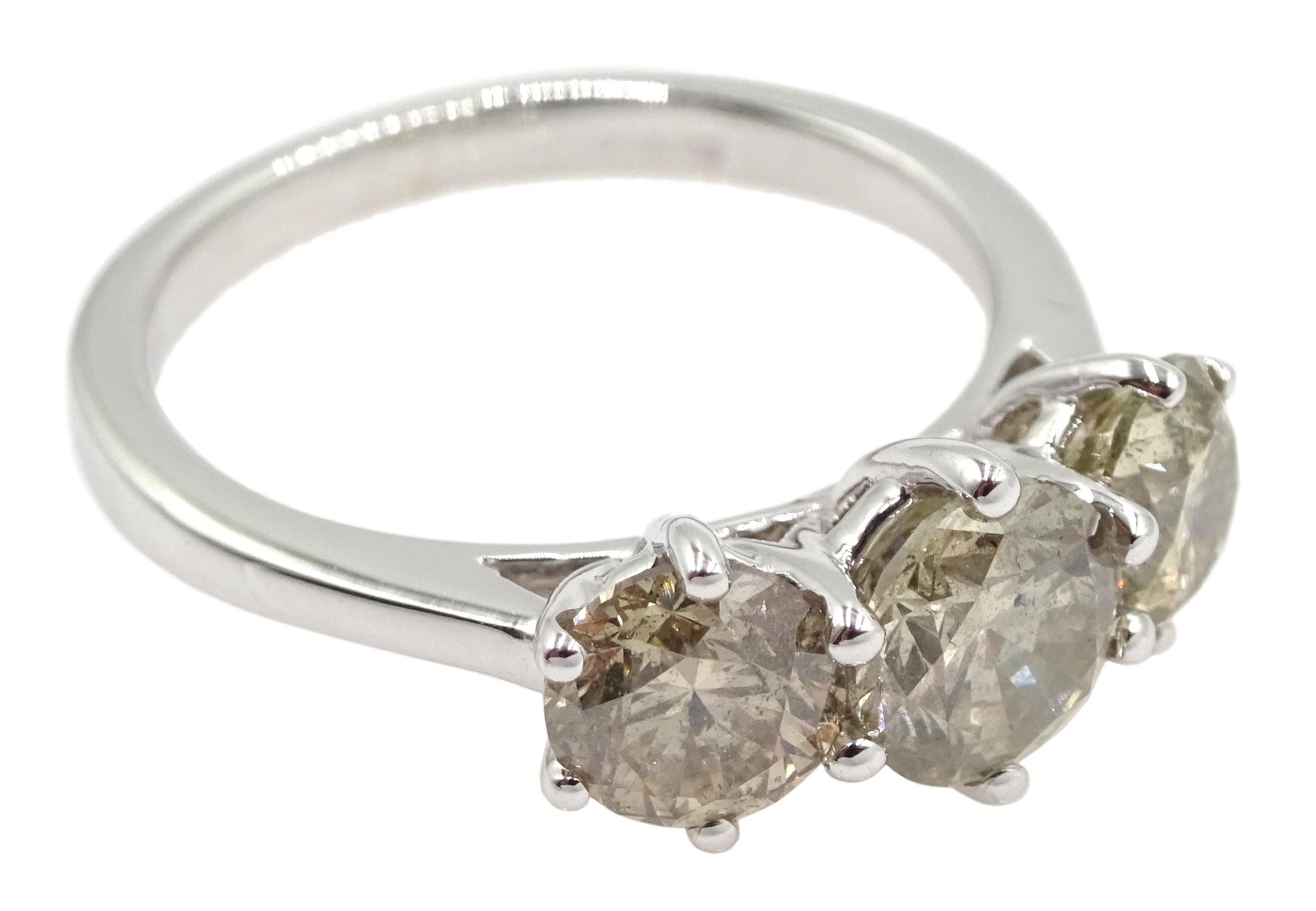 18ct white gold three stone round brilliant cut diamond ring, total diamond weight 2.16 carat, - Image 3 of 7