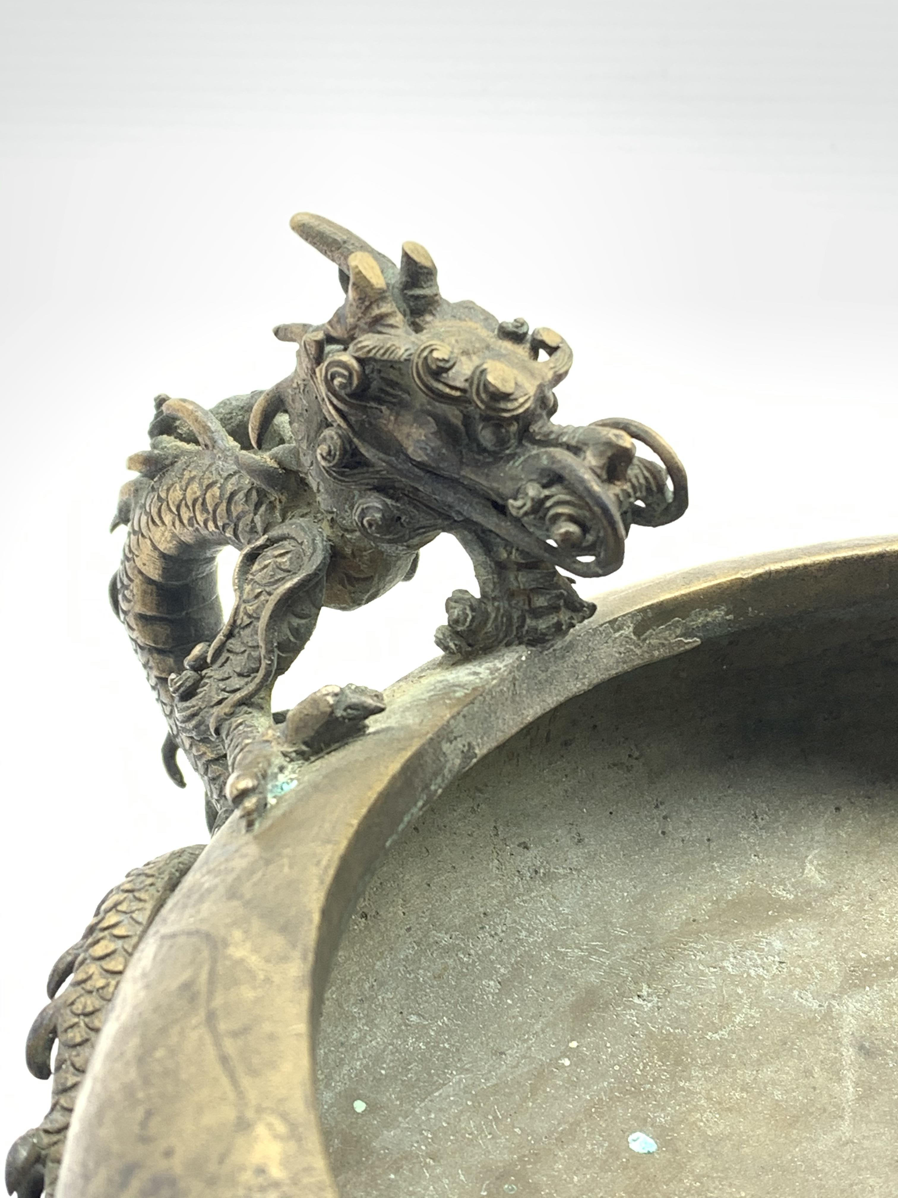 19th century Japanese bronze censer, compressed body with inverted rim flanked by a pair of bronze - Image 3 of 5