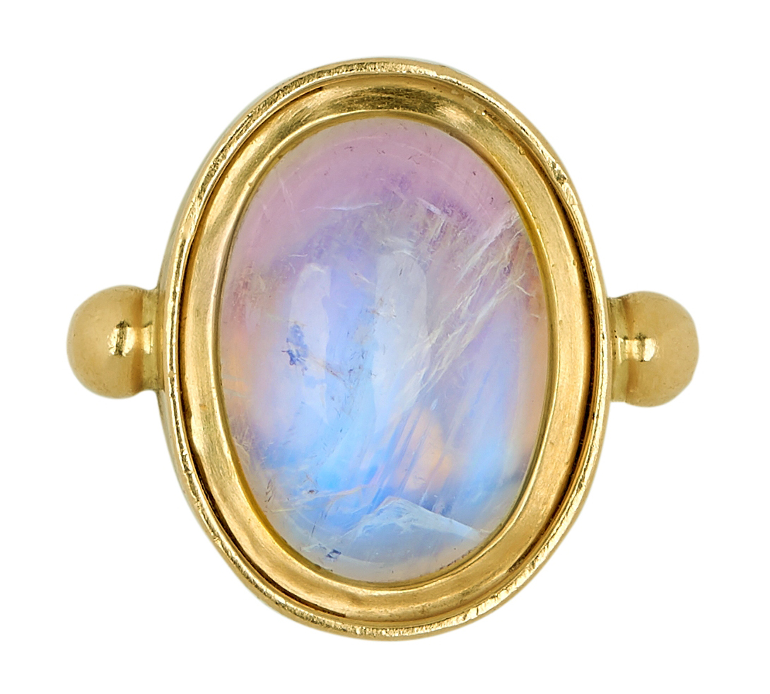18ct gold oval cabochon rainbow moonstone ring, hallmarked, free UK mainland shipping available on