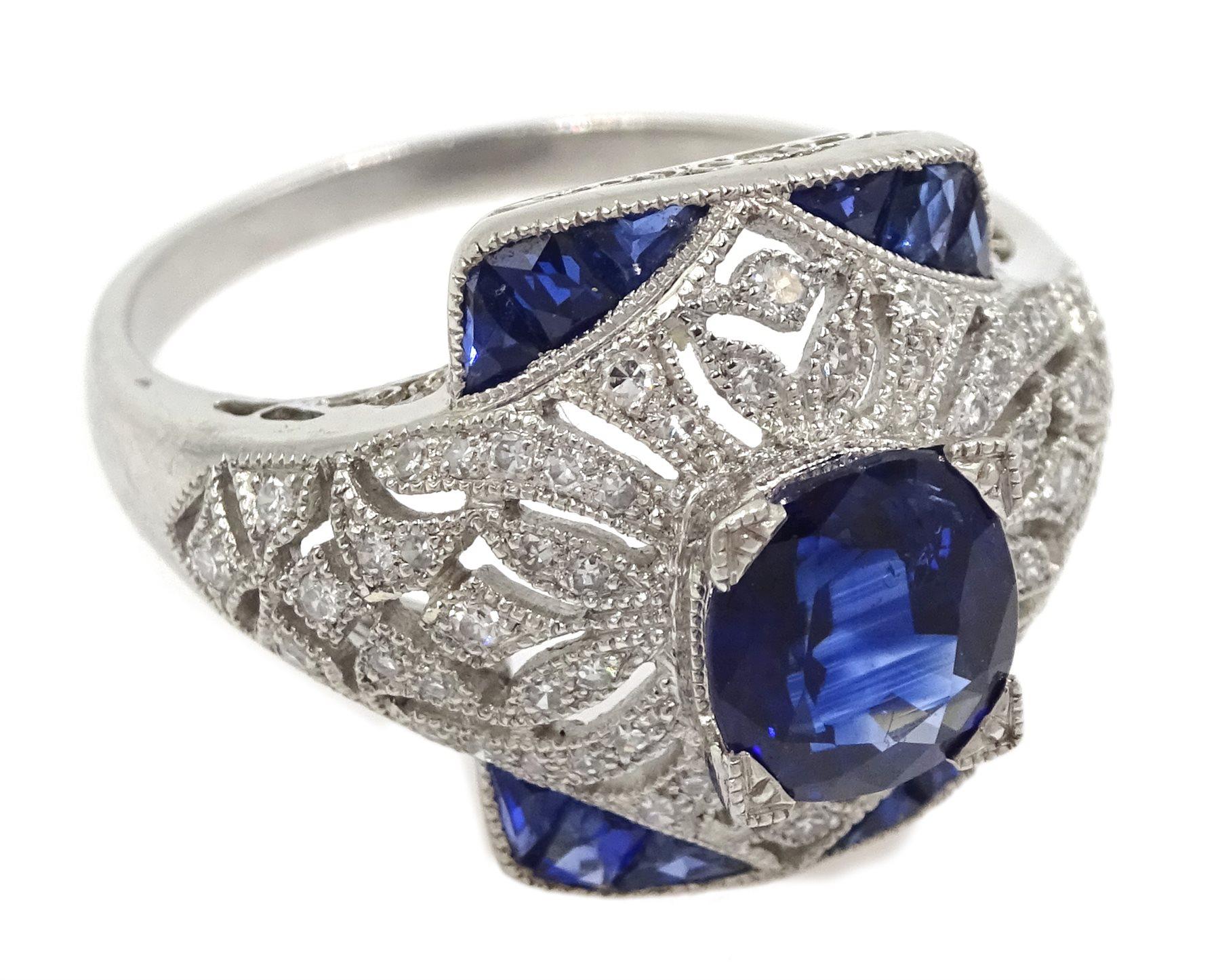 Platinum sapphire and diamond dress ring, pierced openwork setting, free UK mainland shipping - Image 3 of 6