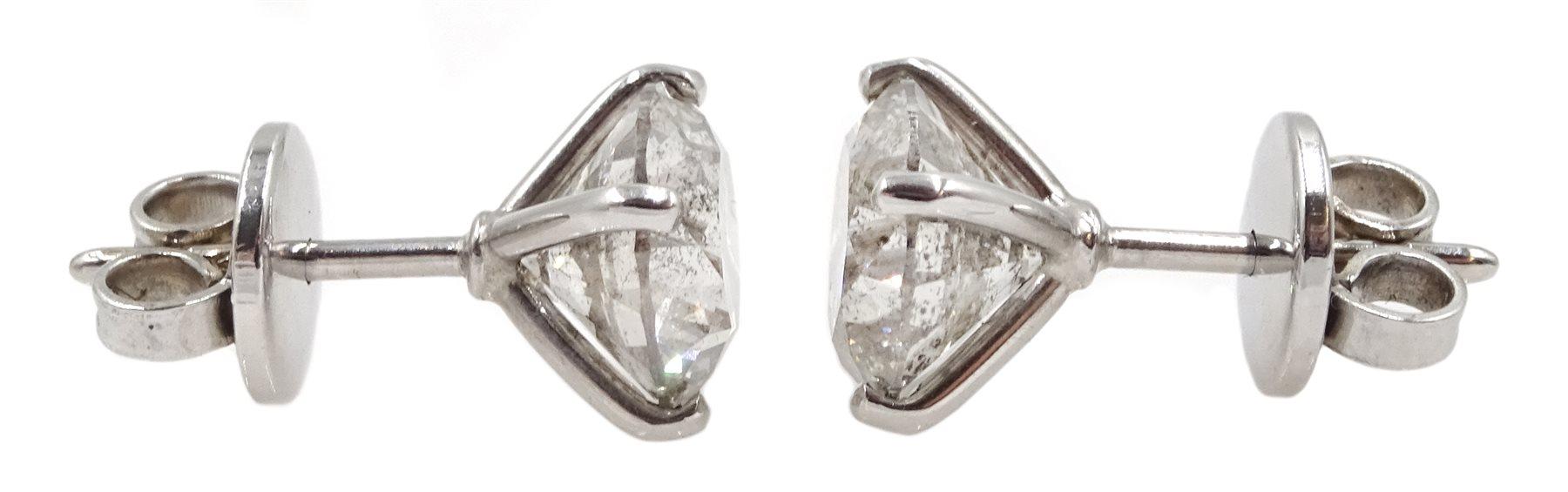 Pair of 18ct white gold diamond stud earrings, stamped 750, diamond total weight 3.52 carat, free UK - Image 3 of 4
