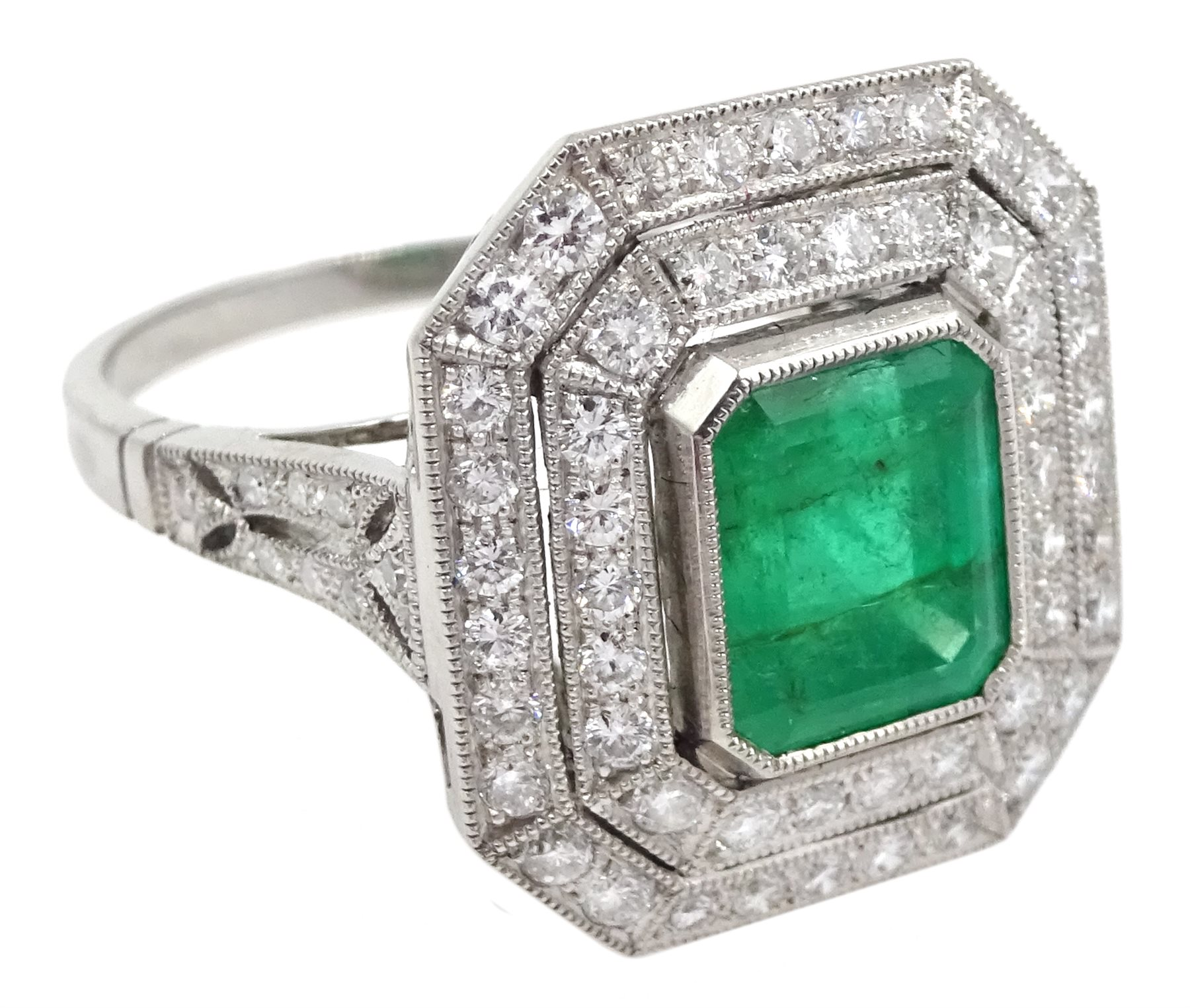 Platinum emerald and double row diamond ring, with diamond set shoulders, emerald approx 1.85 carat, - Image 3 of 5