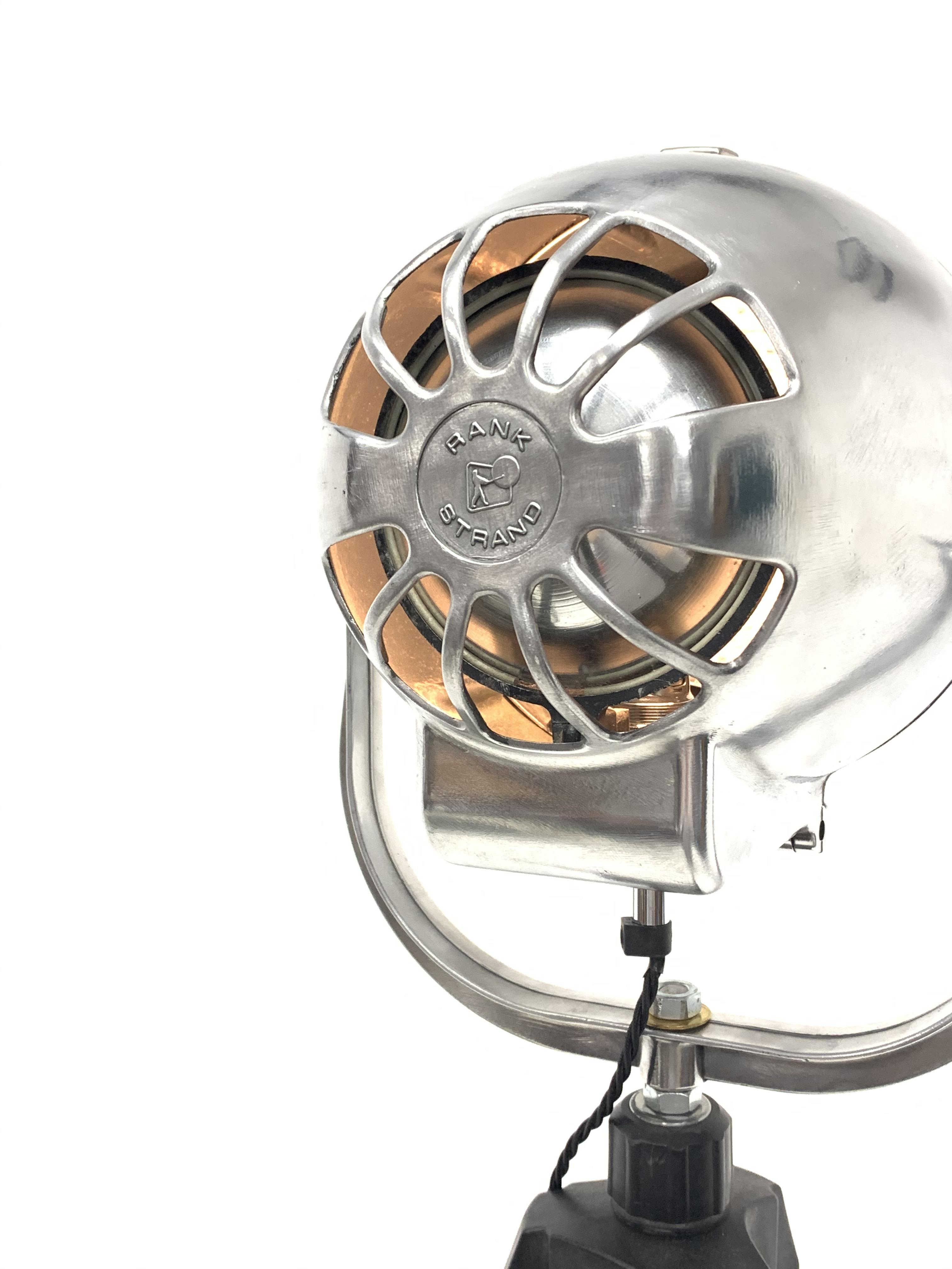 Mid 20th century 'Rank Strand' polished alloy stage light mounted on tripod base, H169cm, shipping - Image 3 of 3
