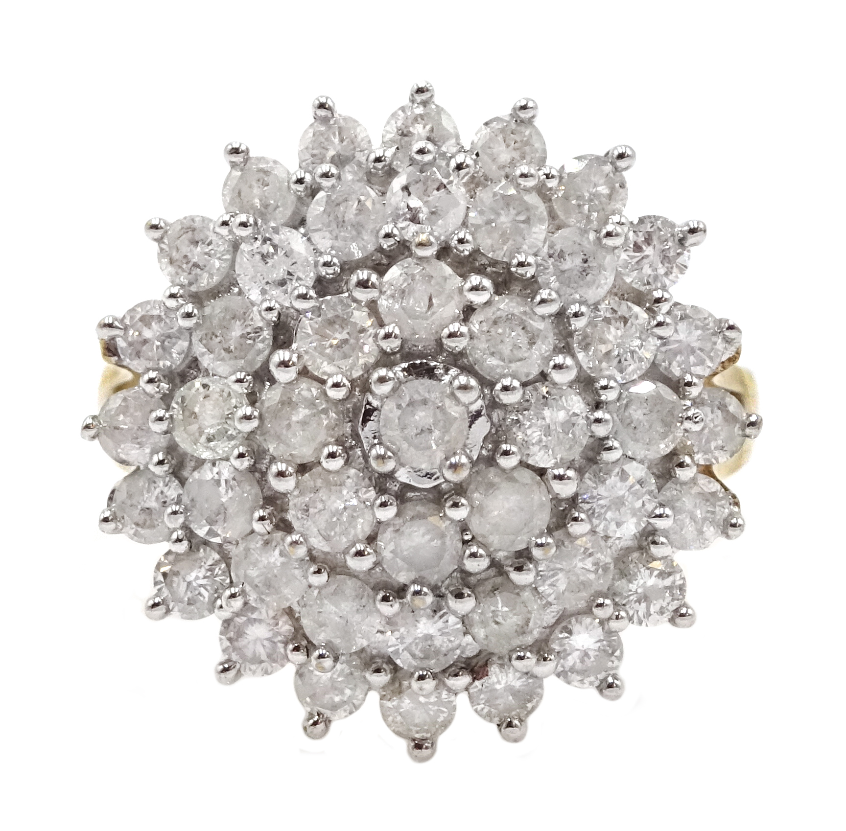 9ct gold cluster ring set with diamonds, diamond total weight approx 2.00 carat, free UK mainland