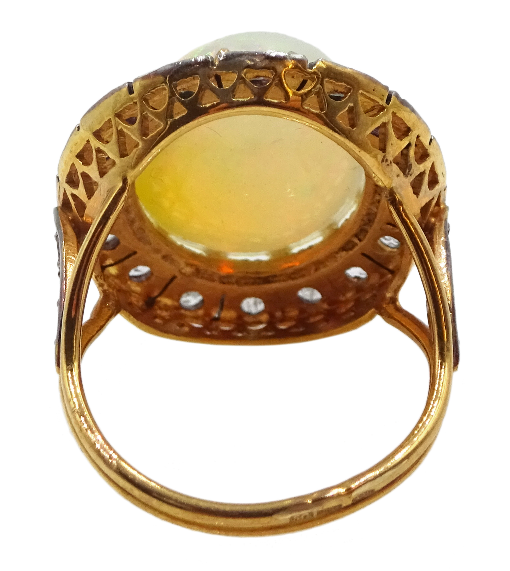 14ct gold and silver cabochon Ethiopian opal and rose cit diamond ring, stamped 585 and 925 - Image 5 of 7