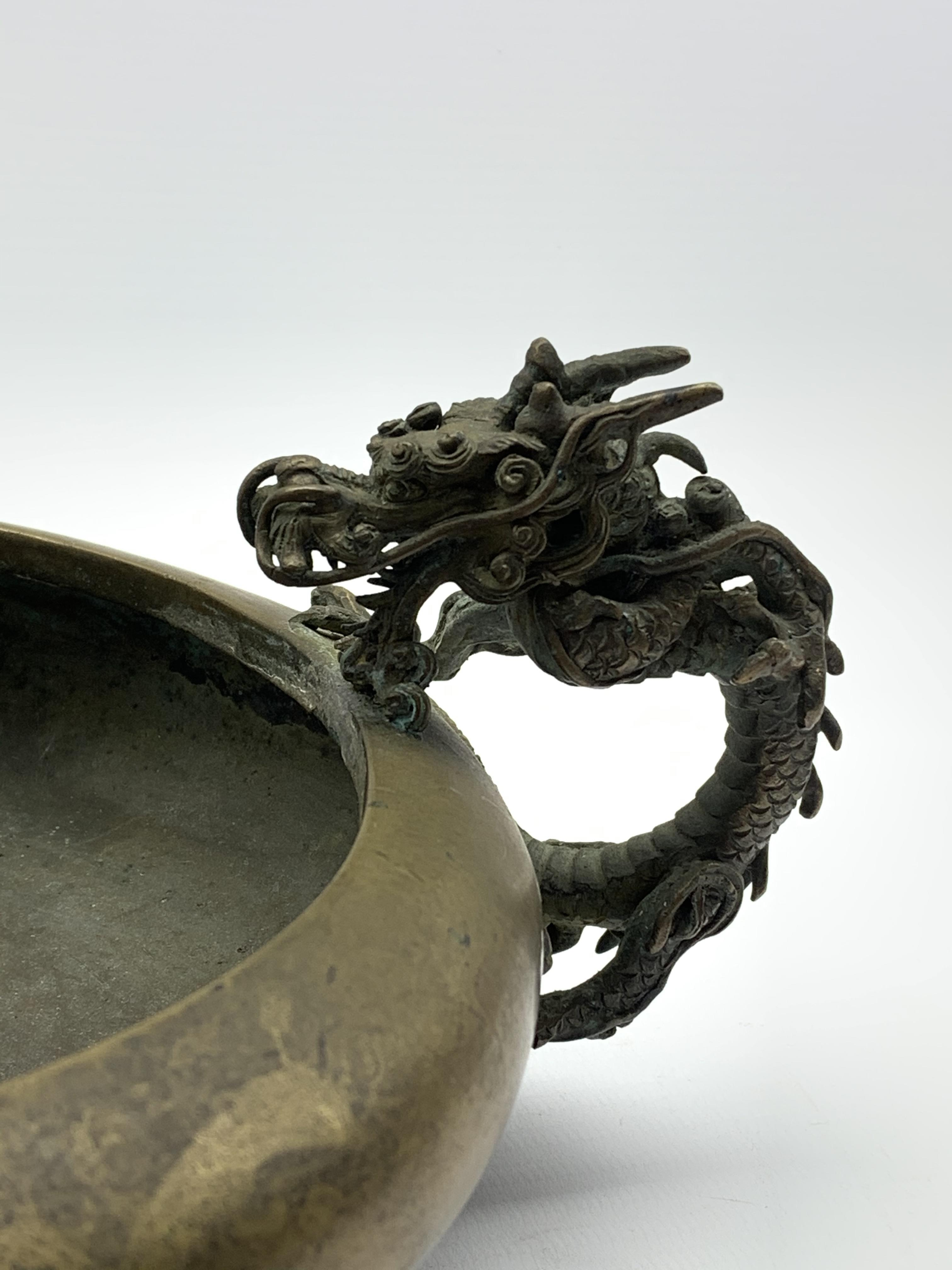 19th century Japanese bronze censer, compressed body with inverted rim flanked by a pair of bronze - Image 2 of 5