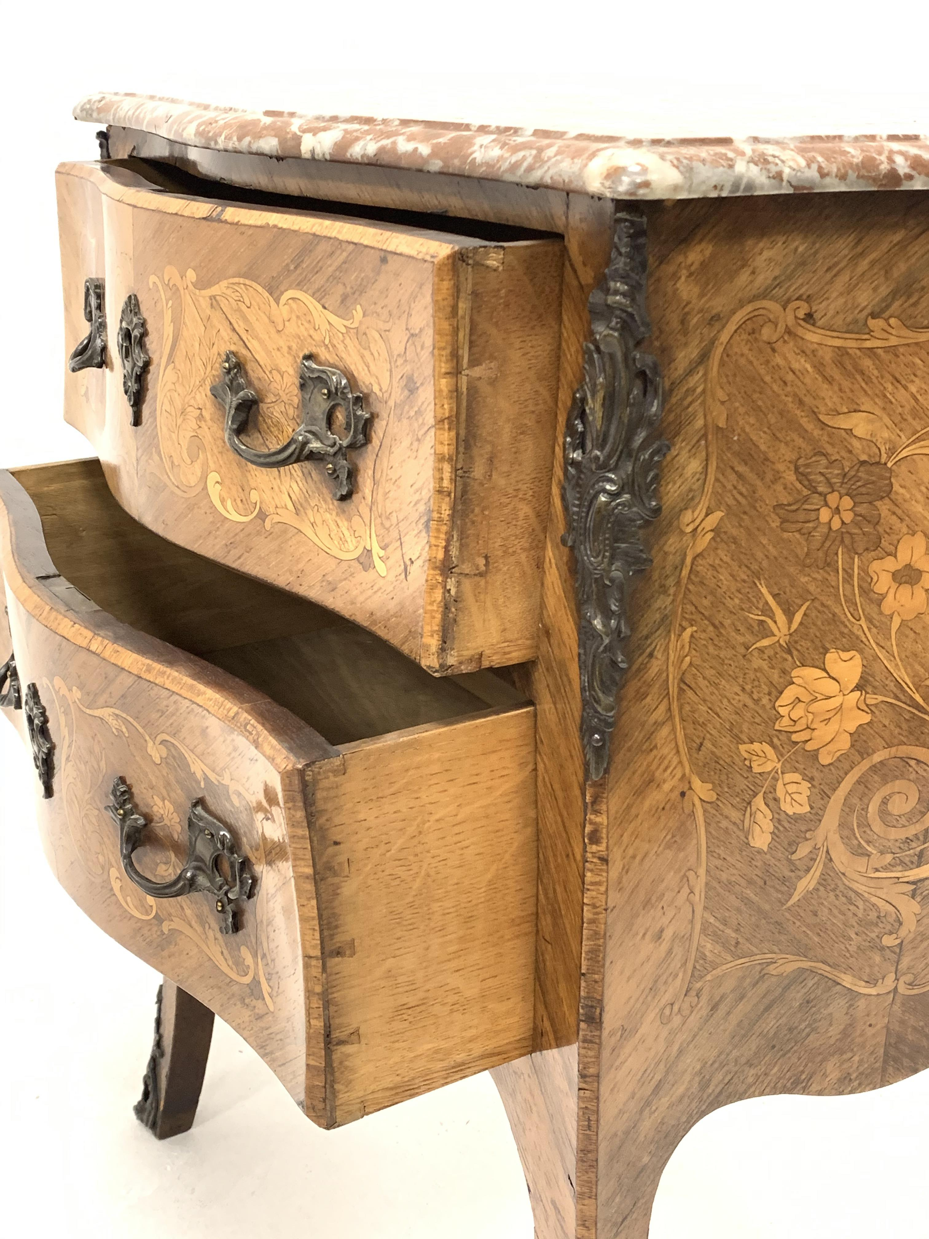 Early 20th century walnut and Kingwood bombe chest, shaped and moulded rouge marble top, two - Image 3 of 4