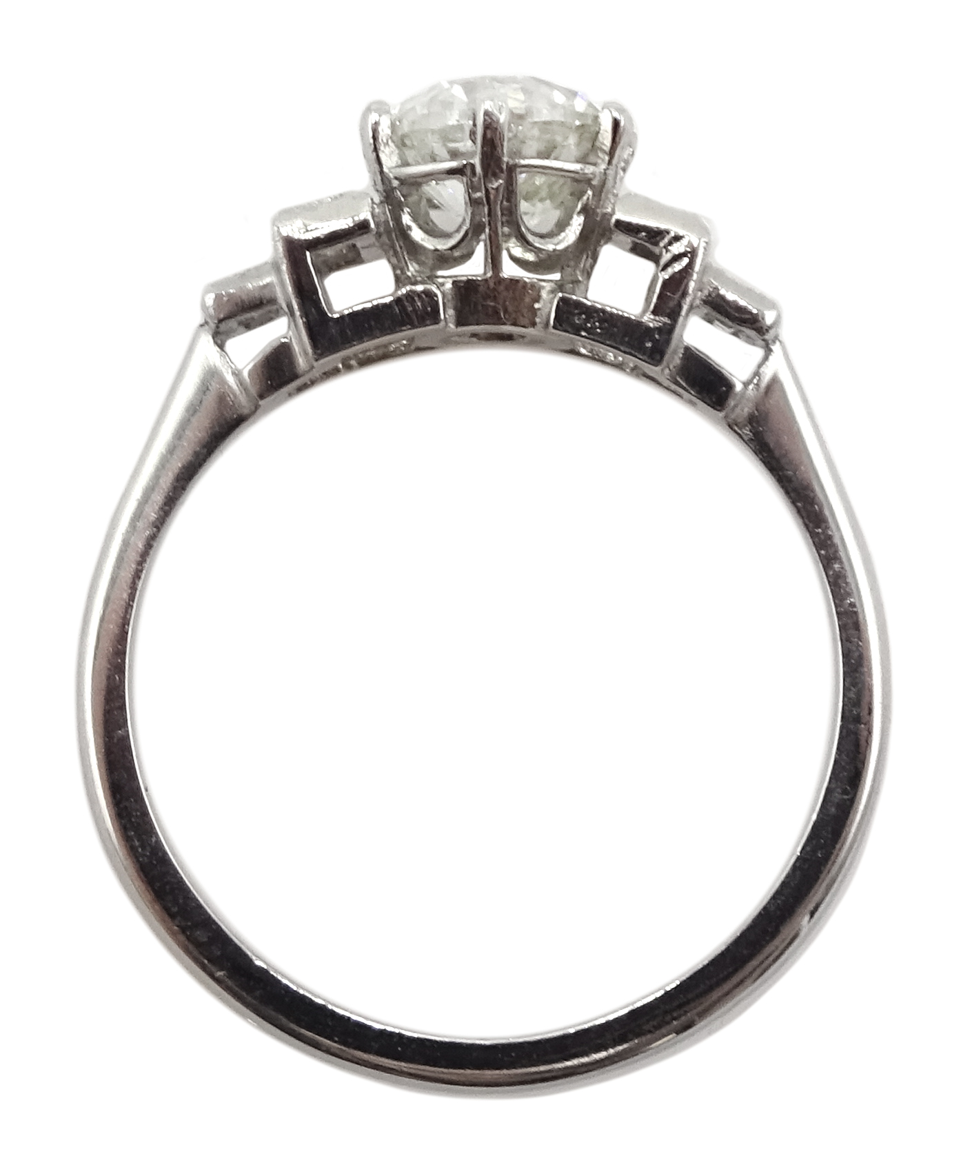 Art Deco style platinum ring set with central old cut diamond and diamonds to shoulders, central - Image 5 of 6