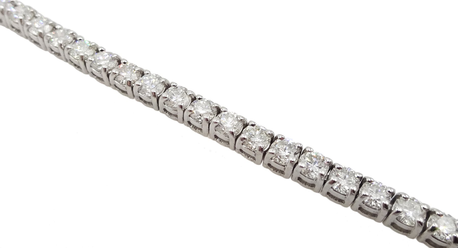 18ct white gold diamond line bracelet, stamped 750 diamond total weight approx 5.18 carat, free UK - Image 4 of 5