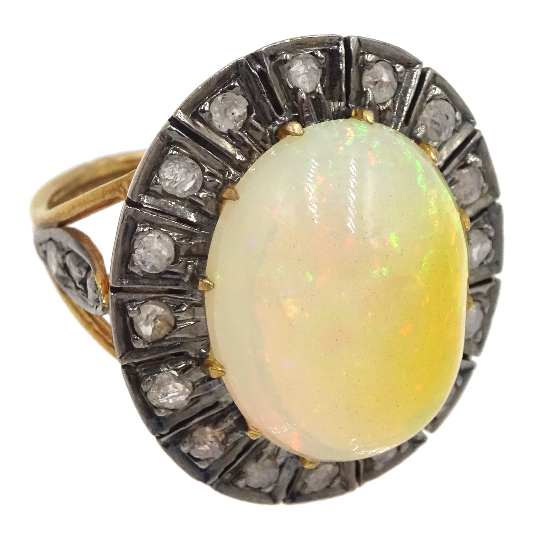 14ct gold and silver cabochon Ethiopian opal and rose cit diamond ring, stamped 585 and 925 - Image 3 of 7