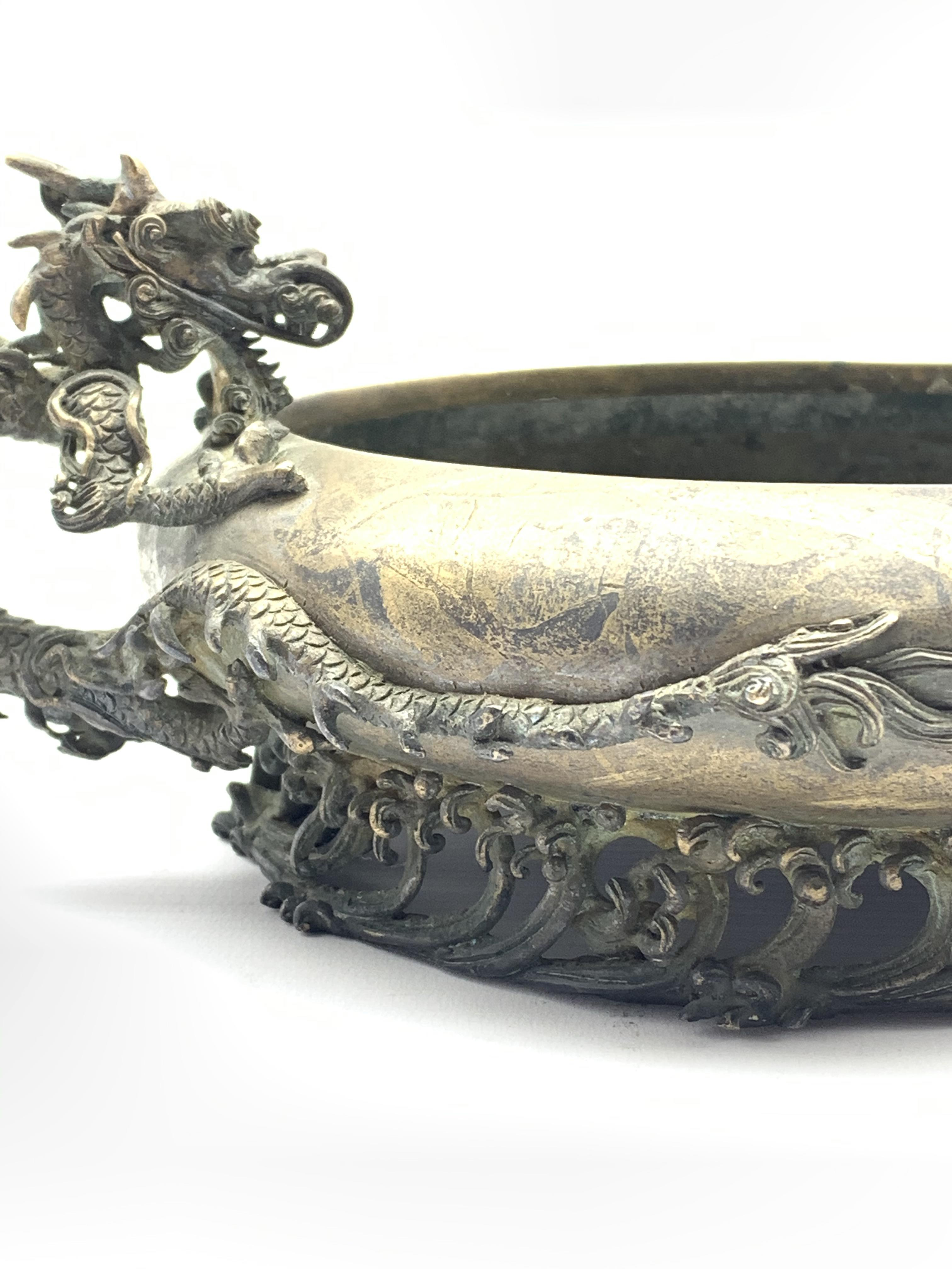 19th century Japanese bronze censer, compressed body with inverted rim flanked by a pair of bronze - Image 4 of 5