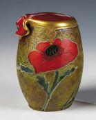 """Indiana""- Vase mit MohnLegras & Cie., Verreries de Saint-Denis, um 1900 - 1914 Opakrotes Glas."