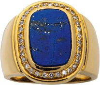 Goldring mit Lapis-Lazuli und Diamanten