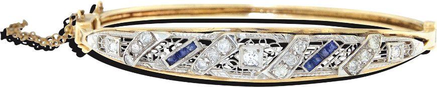 Goldarmreif mit Diamanten und Saphiren