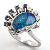 OPAL - SAPPHIRE - DIAMOND - RING