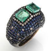 EMERALD - SAPPHIRE - DIAMOND - RING