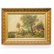 Unsigned, Farmer's Landscape, Oil/canvas, Gilt frame Length: 0 cm , Width: 97 cm, Hight: 74 cm,