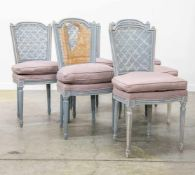 Set of 6 chairs in Louis XVI style, patinated blue and finished with a cushion. (1 to restore)