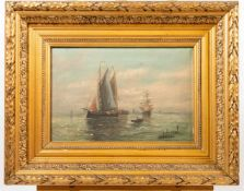 illegibly signed, Harbor View, oil/canvas, Gilt wood frame Length: 0 cm , Width: 45,5 cm, Hight: