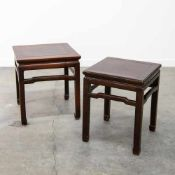 Eastern hardwood side tables. Length: 46,5 / 40,5 cm , Width: 46,5 / 40,5 cm, Hight: 51,56 cm,