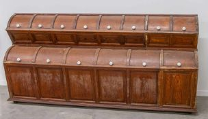 Shop cabinet with 3 antique scoops. 1920 Length: 261 cm , Width: 66 cm, Hight: 130 cm, Diameter: 0
