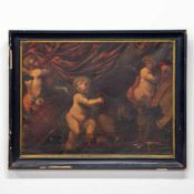 Unsigned, 3 Putti with monkey and dog, Oil/canvas, 18th century Length: 0 cm , Width: 107 cm, Hight: