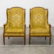 Pair of armchairs with yellow fabric, made in a Louis XVI style, 1920's. Length: 65 cm , Width: 56