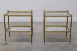Pair side tables, mirrored glass and brass. 1960-1970. Length: 50 cm , Width: 40 cm, Hight: 57 cm,