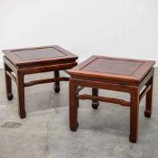 Pair Eastern, hardwood side tables. Length: 48 cm , Width: 48 cm, Hight: 43 cm, Diameter: 0 cm